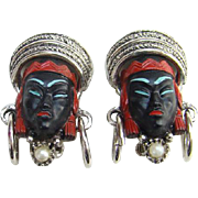 SOLD Vintage Unsigned Selro Selini Asian Princess Clip Earrings Red Black Silvertone
