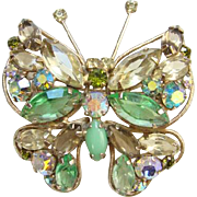 Vintage Green and Citrine Rhinestone Butterfly Pin Brooch Unsigned Framed Wings