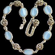 Vintage Oval Cabochan Blue Moonstone Rhinestone Rondell Link Necklace Choker