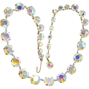 Vintage Aurora Borealis Crystal Rhinestone Choker Necklace Individually Mounted