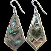 Vintage Alpaca Abalone Shell Pierced Dangle Earrings Mexico Bohemian Boho