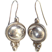 Vintage Mexico Mexican Sterling Silver 925 Pierced Earrings Signed CTF or CTE