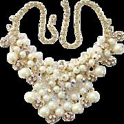 Juliana 1960s Bib Necklace Rhinestone Filigree Ball Dangles Beads Faux Pearls Delizza Elster