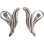 Vintage Taxco Mexico Screw Back Earrings Sterling Silver Amethyst Floral Eagle 3