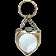 Vintage Heart Perfume Bottle Scent Chatelaine Pendant Gold Filled MOP