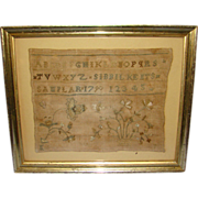 1790 Sibbil Kents Sampler 18th Century Alphabets Floral Crewel Embroidery Signed