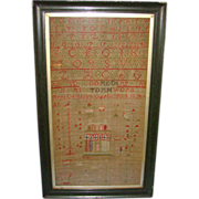 1824 Anne Davidson School Girl House Sampler Gargunnock Scotland Provenance