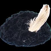 Vintage Black Velvet Evening Hat With Feathers for Madam Alexander Cissy Doll