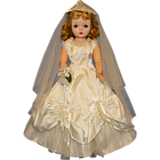 Vintage White Satin Bride Gown for Madame Alexander Cissy Doll Exquisite