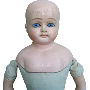 Unmarked German Composition Shoulder Head Doll Blue Glass Eyes Solid Dome 14.5 Inch