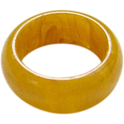 Vintage Marbled Butterscotch Yellow Bakelite Jewelry Ring Size 7