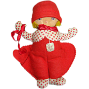 C1930s Georgene Averill To My Valentine Novelty Cloth Felt Doll Original Tag 9 Inch Rare