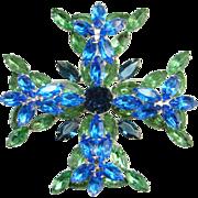 Stunning Vintage Sapphire Blue Emerald Green Rhinestone Brooch Maltese Cross Design