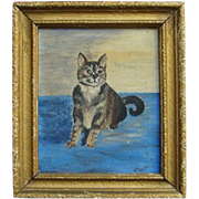 SOLD Old Primitive Oil on Board Gray Cat Painting Signed CWT Americana Folk Art