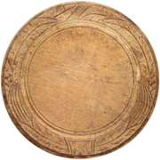 Primitive Old Round Wooden Carved Cheese Bread Board Wheat Design 19th Century