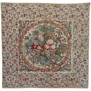Ultra Rare 1800s Central Medallion Chintz Crib Quilt Basket of Fruit Red Blue Brown Natural Dy