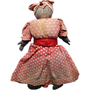Old Primitive Black Cloth Mammy Doll Handpainted Face Red Dress Cotton Stuffed C1930s