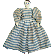 Old Peg Wooden Doll Jointed Hand Carved Hand Sewn Blue Stripe Dress Hand Painted 9 Inch