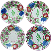 Four Signed 19th Century Stick Sponge Spatter Decorated Villeroy Boch Vegetable Dish ...
