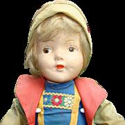 1939 New York Worlds Fair Tourist Doll Heidi From Switzerland Compo 16in Rare