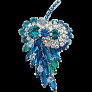 Juliana Blue Teal Green Rhinestone Owl Brooch Pin Stylized Leaf Aurora Borealis DeLizza Elster