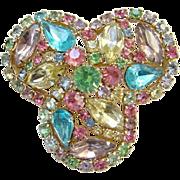 Weiss Pastel Rhinestone Brooch Pin Pink Blue Yellow Aqua Green Lavender Goldtone Setting Vintage Costume Jewelry