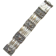 Mexican Link Bracelet Signed Silver Mexico Boho Bohemian Chic C1940s