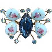 Painted Blue Milk Glass Figural Rhinestone Butterfly Brooch Pin Red Roses Aurora Borealis