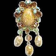 Vendome Rhinestone Pendant Brooch Faux Baroque Pearl Dangles Champagne Blue Aurora Borealis ..