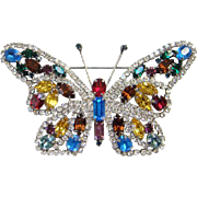 Multicolor Rhinestone Figural Butterfly Brooch Pin Silvertone Setting Red Yellow Blue Green Large Vintage Old