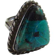 Vintage Mexico Sterling Silver Turquoise Ring Size 7.5 Mexican Jewelry Boho Bohemian Chic
