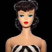 Barbie #5 Ponytail Doll Dark Brunette Raven Black Hair Beautiful Condition Small Green Ear C19