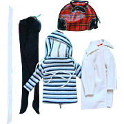 Barbie Doll Winter Holiday Stretch Pants Hooded Shirt Car Coat Plaid Bag 1959-63 Pristine Cond