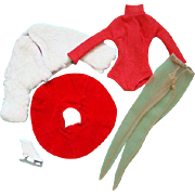 Barbie Doll Outfit Icebreaker Furry Jacket Skirt Turtleneck Panty Hose One Skate 1962-64 Mint