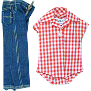 Barbie Doll Picnic Set 1959-61 Clam Digger Jeans Red Check Body Suit Pristine Mint Condition