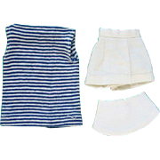 Barbie Doll Resort Set Striped Sleeveless Shell Shorts White Sailcloth Hat 1959-62 Pristine Cl