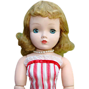 C1958 Madame Alexander Cissy Doll in Vintage Red White Sundress Accessories 20 Inch