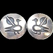 Sterling Silver Overlay Clip Earrings Bird Design Southwestern Marked Boho Bohemian