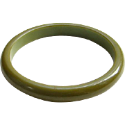 Vintage Bakelite Bangle Bracelet Olive Green Spacer Costume Jewelry