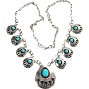 Native American Bear Paw Necklace Turquoise Sterling Silver Marked SJ