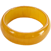 Art Deco Bakelite Bangle Bracelet Marbled Butterscotch Egg Yolk Yellow C1930s