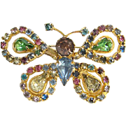 Rhinestone Butterfly Trembler Brooch Pin Pink Blue Green Amethyst Costume Jewelry