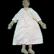 Primitive Cloth Rag Doll 19thC White Dress Massachusetts Estate Watercolor Face