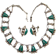 Del Rio Mexico Mexican 925 Sterling Silver Link Necklace Screw Back Earrings Green Agate Stone
