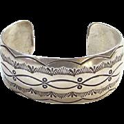 L Spencer Navajo Sterling Silver Cuff Bracelet Native American Indian C1970s