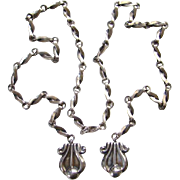 Reveriano and Maria Castillo Taxco Mexico Sterling Silver Lariat Necklace 38 Mexican Jewelry C