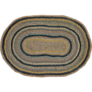 Old Oval Dollhouse Braided Rug Mat Tiny Tape Braids Multicolor Brown Blue Country Home Decor