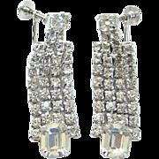 Vintage Kramer NY Clear Ice Rhinestone Dangle Screw Back Earrings Emerald Cut Stones