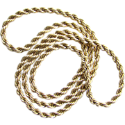Vintage Rope Twist Gold Tone Necklace Opera Length 30.5 Inch