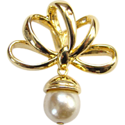 Vintage Yellow Gold or Gold Filled and Pearl Necklace Pendant Unreadable Signature